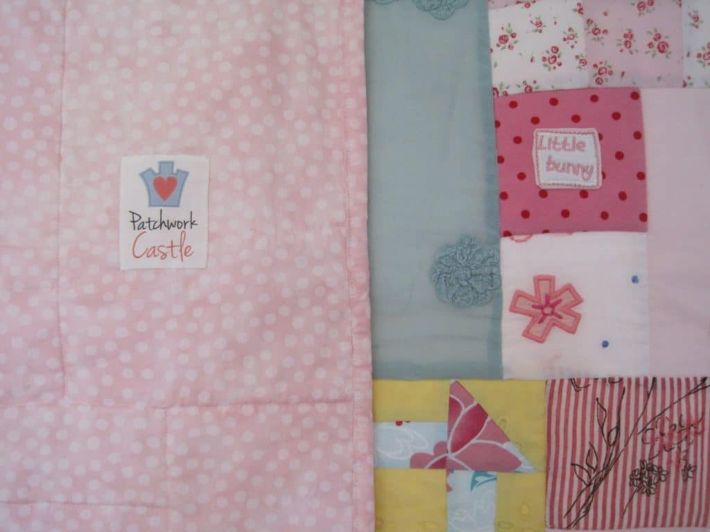 Baby girl memory quilt - showing backing