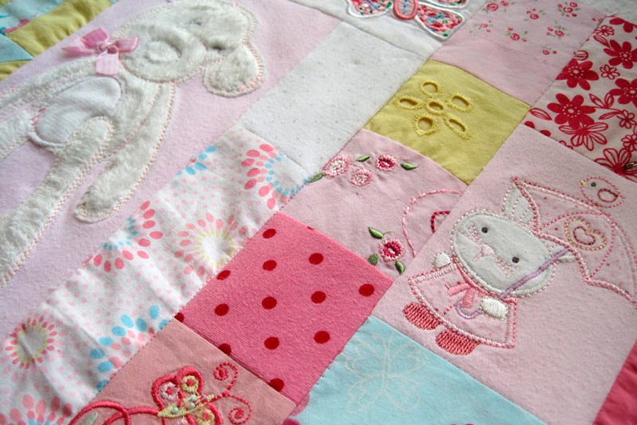 signature mosaic baby clothes memory quilt patchwork castle