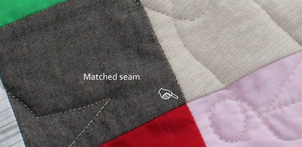 Memory Quilt - stabilised stretchy fabrics make matched seams easier