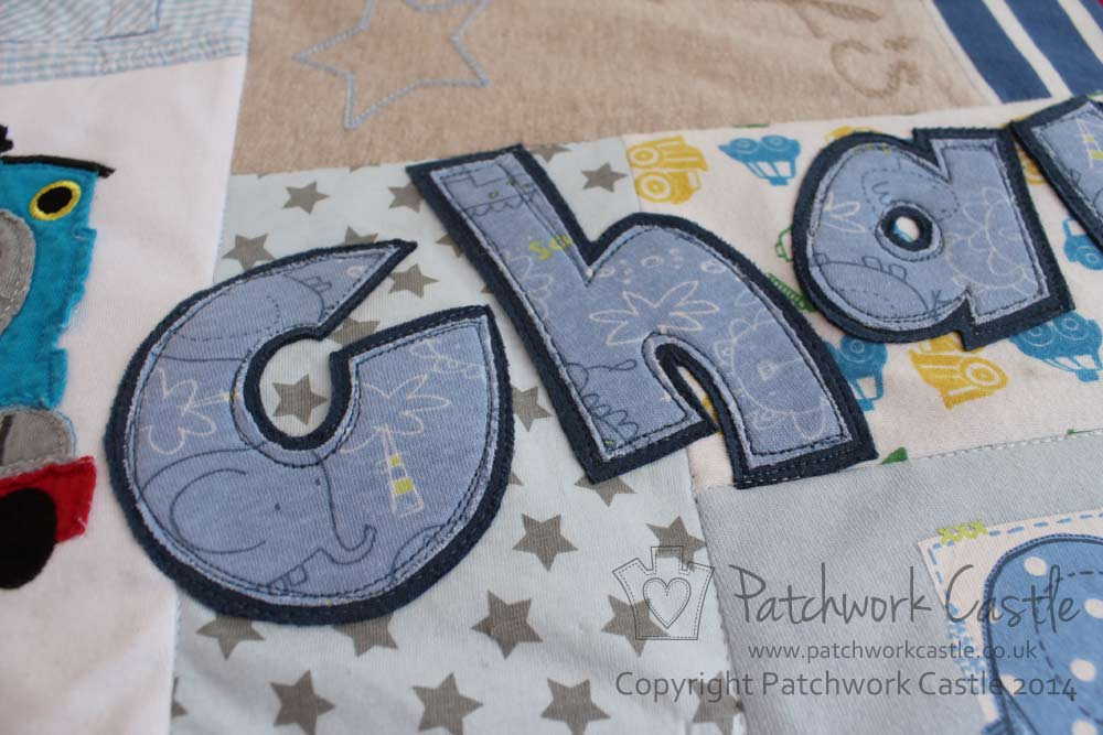 Personalise your quilt or cushion with a name applique