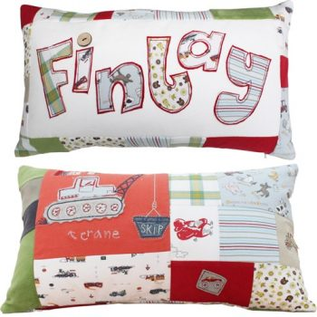 Keepsake Personalised Patchwork Cushion made from baby clothes