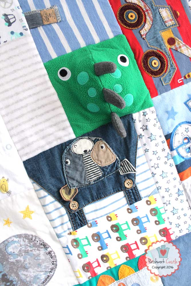 Signature Mosaic Baby Clothes Memory Quilt with cute dinosaur!