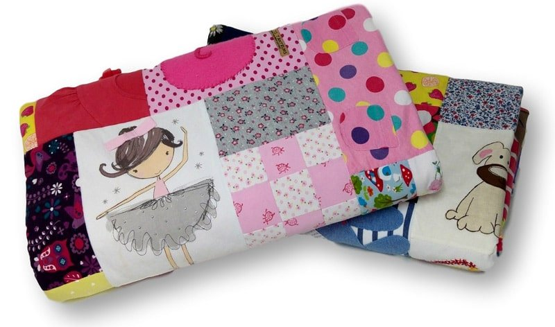 Baby-Clothes-Memory-Quilts-Signature-Mosaic-Folded